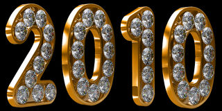 Golden 2010 year incrusted with diamonds Royalty Free Stock Image