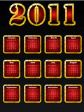 Golden 2011 calendar design. Template vector illustration