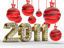 Golden 2011 with Christmas balls Royalty Free Stock Photo