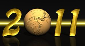 Golden 2011 with earth Stock Image