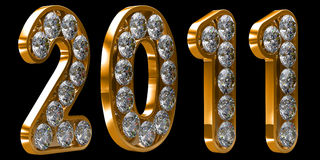 Golden 2011 year incrusted with diamonds Royalty Free Stock Photo