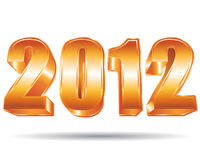 Golden 2012. 2012 New year. Golden 3d illustration Stock Photo