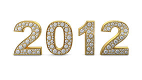 Golden 2012 with diamonds. 3D rendering of golden 2012 with white diamonds Stock Images