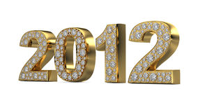 Golden 2012 with diamonds stock image