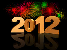 Golden 2012 with fireworks Royalty Free Stock Photography