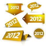 Golden 2012 Labels, stickers. Pointers, tags for your (web) page Royalty Free Stock Photography