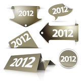 Golden 2012 Labels, stickers, pointers. Tags for your (web) page Stock Photos
