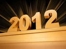Golden 2012 on a pedestal. Golden 2012 with rays over golden base Royalty Free Stock Photos