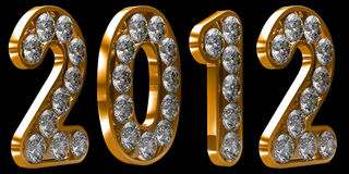 Golden 2012 year incrusted with diamonds Stock Photo