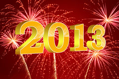 Golden 2013. Golden 3D 2013 over deep red background with firework Stock Photo