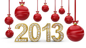 Golden 2013 with Christmas balls Stock Images