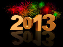 Golden 2013 with fireworks Stock Photography