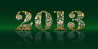 Golden 2013 with reflections. Golden 2013 composed of a variety of elements including  houses, cars, bicycle, trees, with reflection and a dark green background Royalty Free Stock Image