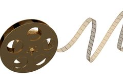 Golden 35mm Film roll. A golden 35mm Film roll on white Background stock illustration