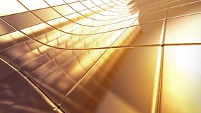 Golden 3d abstraction background. Golden futuristic 3d plate abstraction background with conceptual design Stock Image