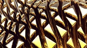 Golden 3d abstraction background. Golden futuristic 3d plate abstraction background with conceptual design Stock Images