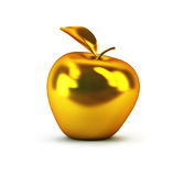Golden 3d apple. Isolated rendering Royalty Free Stock Photos