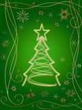Golden 3d christmas tree 3. Golden 3d christmas tree with gold stars, snowflakes and ornaments over green background Stock Images