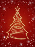 Golden 3d christmas tree in red. Golden 3d christmas tree with gold stars and white lights over red background Royalty Free Stock Photography