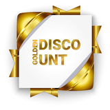 Golden 3d discount banner. White square background tied with rib Stock Photography