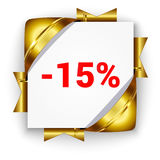 Golden 3d discount banner. White square background tied with rib. Bons. Sign of 15 percent. Realistic ads for the Internet and print. button for websites Royalty Free Stock Image