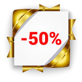 Golden 3d discount banner. White square background tied with rib. Bons. Sign of 50 percent. Realistic ads for the Internet and print. button for websites Royalty Free Stock Images