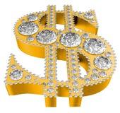 Golden 3D Dollar symbol incrusted with diamonds vector illustration