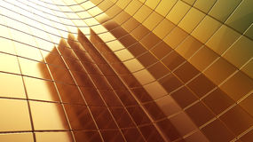 Golden 3d futuristic plate abstraction background Stock Images