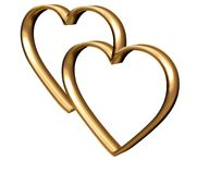 Golden 3D hearts Stock Photo