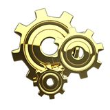 Golden 3D isoleted gears Royalty Free Stock Image
