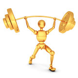 Golden 3d man with barbell on white background. 3d Stock Photos
