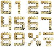 Golden 3D numbers. 3D rendering of golden numbers Stock Photography