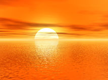 Golden 3d sunset Stock Images