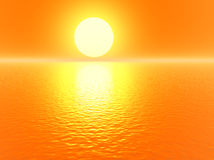 Golden 3d sunset Stock Image