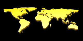 Golden 3D World map. 3D Illustration. An abstract Worldmap Royalty Free Stock Images