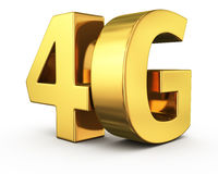 Golden 4G. Big golden letters 4G on white Royalty Free Stock Images