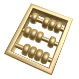 Golden abacus. Symbol isolated on white background Royalty Free Stock Photos