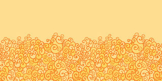 Golden absract fire swirls horizontal seamless Royalty Free Stock Images