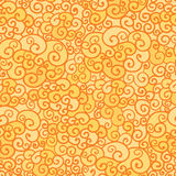 Golden absract fire swirls seamless pattern. Vector golden absract fire swirls seamless pattern background with hand drawn elements Stock Image