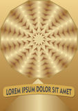 Golden abstract background with circle shape in optical art style, luxurious design element Stock Photos