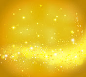Golden abstract background with flowing light. And glittering stars. Vector design template stock illustration