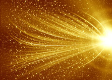 Golden abstract background. With lighting curve line Stock Photos