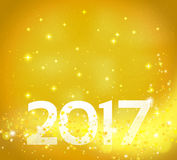 Golden abstract background with 2017 number Royalty Free Stock Photo