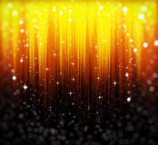 Golden, abstract background with stars and bokeh. Shiny golden, abstract background with stars, bokeh and glitter stock illustration