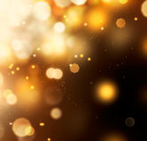 Golden Abstract Bokeh Background. Gold Dust over Black stock image