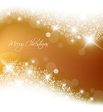 Golden abstract Christmas background. With white snowflakes Royalty Free Stock Image