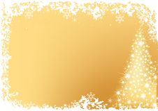 Golden Abstract Christmas Tree Stock Image