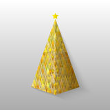 Golden abstract christmas tree. Abstract Christmas tree and ornament of rhombuses. Yellow and golden geometric elements of a tree with shadow on bright Royalty Free Stock Photography