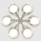 Golden abstract circular object. With white boxes Royalty Free Stock Image