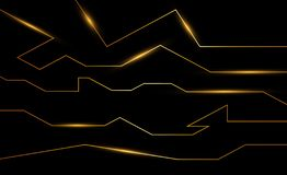 Golden abstract electron energy line on brushed black background. Power vein light tech royalty free illustration